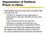 Organization of Political Power in China