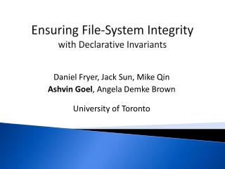 Ensuring  File-System Integrity  with Declarative Invariants