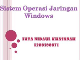 Sistem Operasi Jaringan Windows
