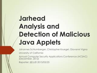 Jarhead Analysis  and Detection of Malicious Java Applets