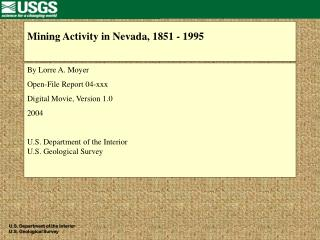 Mining Activity in Nevada, 1851 - 1995
