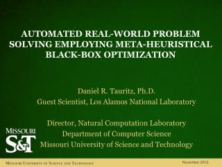 Automated real-world problem  solving EMPLOYING meta- heuristical black-box  optimization