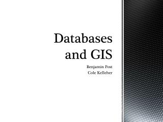 Databases and GIS