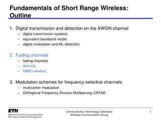 Fundamentals of Short Range Wireless: Outline
