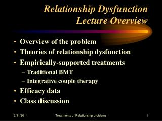Relationship Dysfunction Lecture Overview