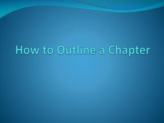 How to Outline a Chapter