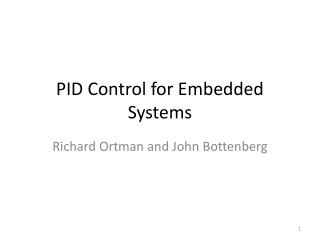 PID Control for Embedded Systems