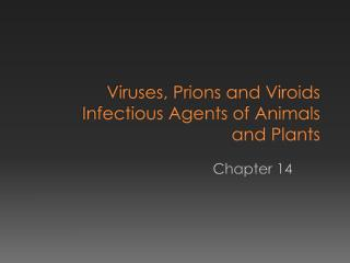 Viruses, Prions and Viroids Infectious Agents of Animals  and Plants