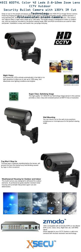 HDIS 800TVL Color 42 Leds 2.8-12mm Zoom Lens CCTV Outdoor