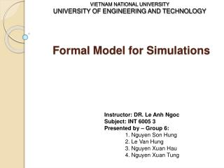 Formal Model for Simulations