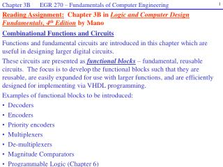 Combinational Functions and Circuits