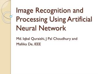 Image Recognition and Processing Using Artificial Neural Network