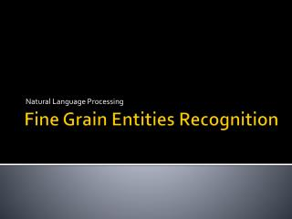 Fine Grain Entities Recognition