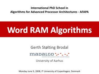 Word RAM Algorithms