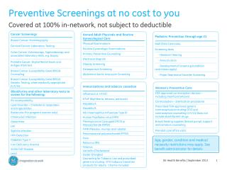 Preventive Screenings at no cost to you