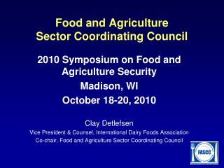 Food and Agriculture  Sector Coordinating Council