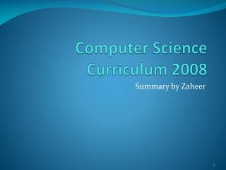 Computer Science Curriculum 2008