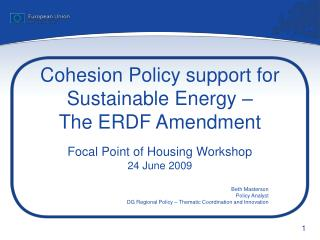 Cohesion Policy support for Sustainable Energy – The ERDF Amendment