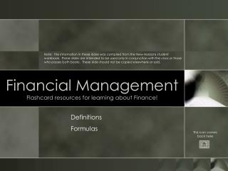 Financial Management Flashcard resources for learning about Finance!