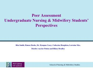 Peer Assessment Undergraduate Nursing & Midwifery Students' Perspectives