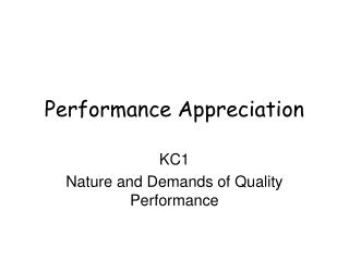 Performance Appreciation