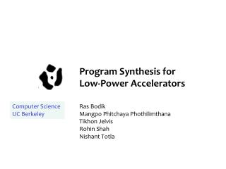 Program Synthesis for  Low-Power Accelerators