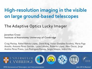 High-resolution imaging in the visible on large ground-based telescopes