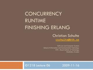Concurrency Runtime Finishing Erlang