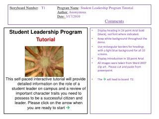 Student Leadership Program  Tutorial
