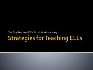 Strategies for Teaching ELLs