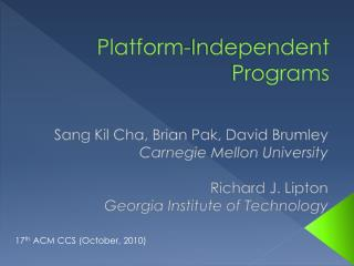 Platform-Independent Programs
