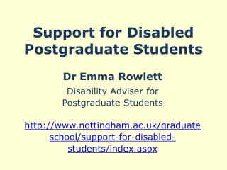 Support for Disabled Postgraduate Students