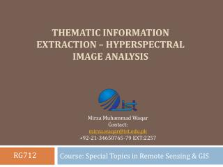 Thematic information extraction – hyperspectral image analysis