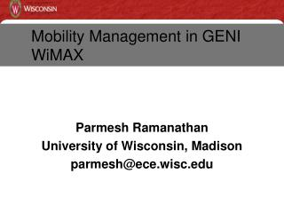 Mobility Management in GENI  WiMAX