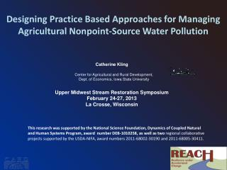 Designing Practice Based Approaches for Managing Agricultural Nonpoint-Source Water Pollution