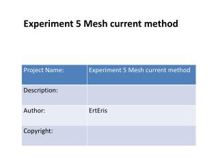 Experiment 5 Mesh current method