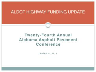 ALDOT HIGHWAY FUNDING UPDATE