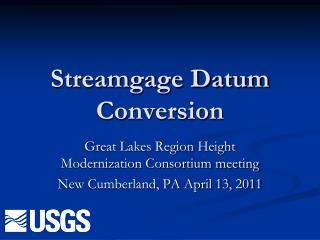 Streamgage Datum Conversion