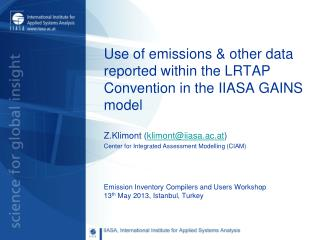 Use of emissions & other data reported within the LRTAP Convention in the IIASA GAINS model