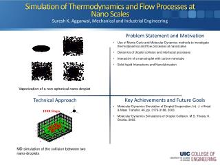 Simulation of Thermodynamics and Flow Processes at  Nano  Scales