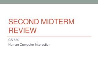 Second Midterm Review