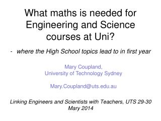 What maths is needed for Engineering and Science courses at Uni?