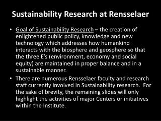 Sustainability Research at Rensselaer