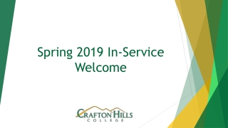 Spring 2019 In-Service Welcome