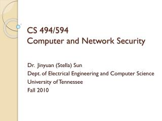 CS 494/594 Computer and Network Security