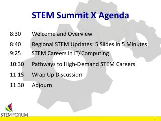 STEM Summit X Agenda