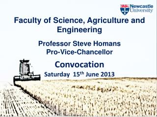 Faculty of Science, Agriculture and  Engineering Professor Steve Homans Pro-Vice-Chancellor