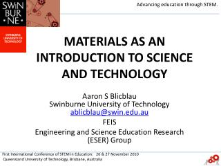 MATERIALS AS AN INTRODUCTION TO SCIENCE AND TECHNOLOGY