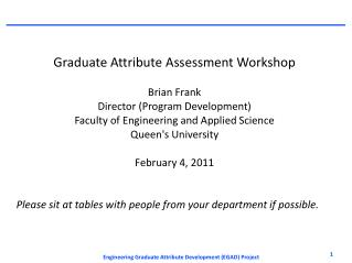 Graduate Attribute Assessment Workshop Brian Frank Director (Program Development)