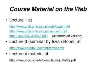 Course Material on the Web
